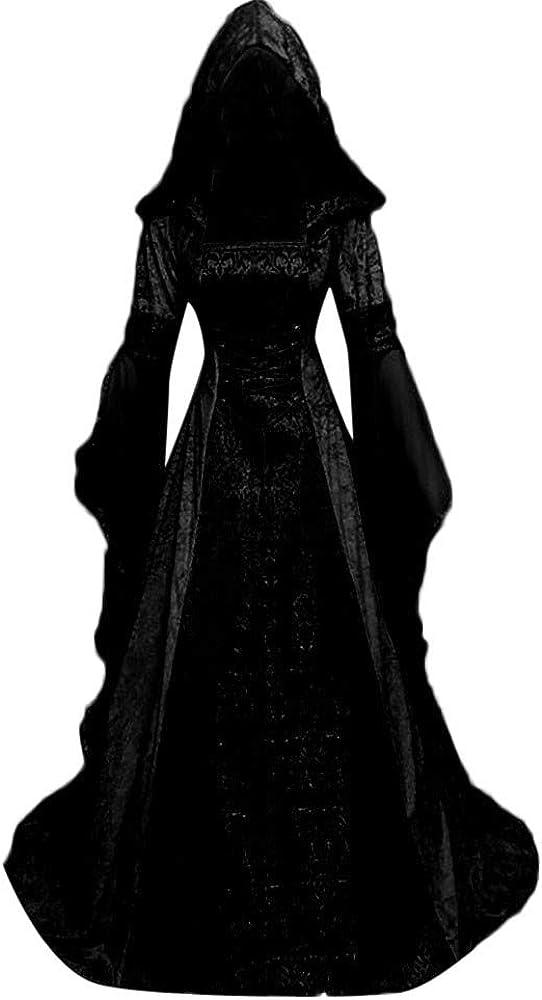 VEKDONE Women Oversized Medieval Dress, Renaissance Lace Up Vintage Gothic Dress Floor Length Hooded Cosplay Dresses
