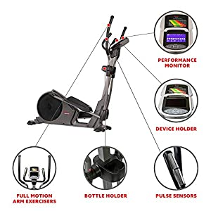 Sunny Health & Fitness Magnetic Elliptical Trainer Machine w/Device Holder, Programmable Monitor and Heart Rate Monitoring, 330 LB Max Weight - SF-E3912, Silver