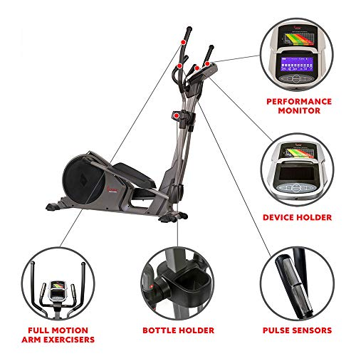 Product Image 4: Sunny Health & Fitness Magnetic Elliptical Trainer Machine w/Device Holder, Programmable Monitor and Heart Rate Monitoring, 330 LB Max Weight – SF-E3912, Silver