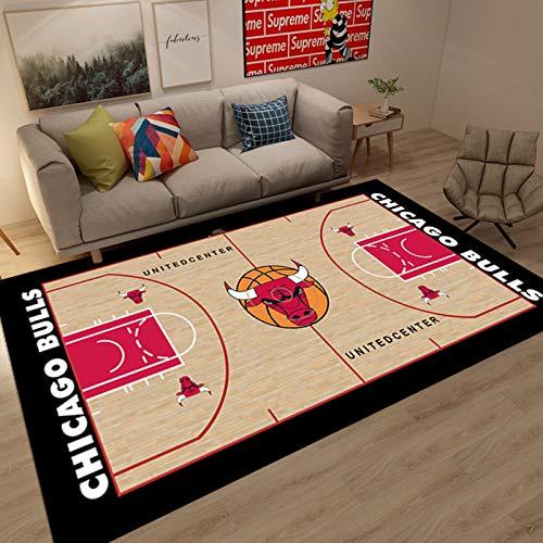 WYBY Bulls Basketball Court Teppich-Rausch-Reduktion und Schutzboden-Fans Schlafzimmer Wohnzimmer Teppichboden 160 * 230CM