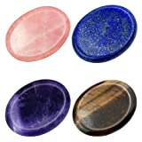 Marrywindix 4 Packs Natural Thumb Worry Stone Set Pink Crystal Amethyst Tiger Eye Lapis Lazuli for Anxiety Stress Relief Meditation Crystal Therapy