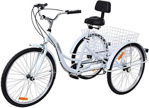 Triciclo para adultos de 26 pulgadas, 7 velocidades, 3 ruedas, triciclo con cesta de aleación de aluminio