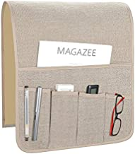 Teniux Remote Control Holder Non-Slip Couch Sofa Chair Armrest Organizer with 5 Pockets Armchair Caddy for Smart Phone, Book, Magazines, Ipad (Gw-Beige)