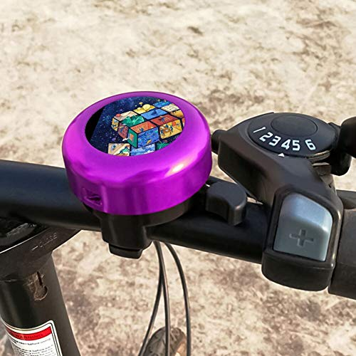 GLOOKVB Bike Bell Magic Cube Aluminum Bicycle Bell with Loud Crisp Clear Sound for Kids Adults (Purple)