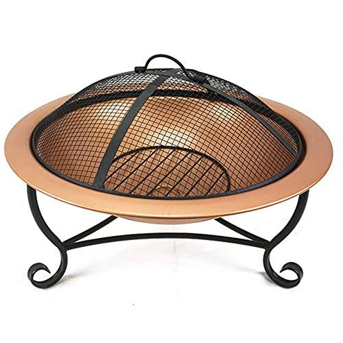 FGVDJ Outdoor Fire Pit Bowl, Round Fire Pit Wood Burning, Patio Firebowl with Spark Screen - 20 Inch Fire Bowl with Metal Tripod, Rose Gold Color