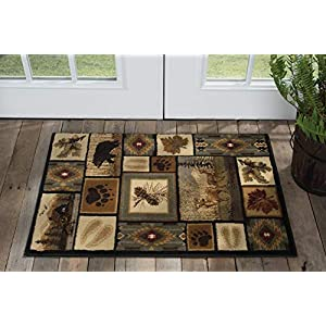 Northern Wildlife Multi-Color 2×3 Scatter Mat Area Rug Cabin for Hallway, Walkway, Entryway, or Foyer – Lodge, Novelty Farmhouse Style Rugs & Carpets & Runners