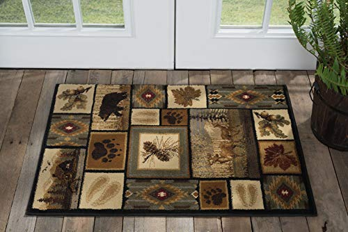Tayse Northern Wildlife Multi-Color 2x3 Scatter Mat Area Rug Cabin for Hallway, Walkway, Entryway, or Foyer - Lodge, Novelty