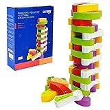 Arkmiido Stapelspiel Aus Holz Bausteine mit Farben und Gemüse, Kinderspiel ab 3 Jahre, holzspielzeug Kinder Geschenk für Kinder,Spielzeug für Mädchen und Jungs von 3 bis 9 Jahren (55 Stück)