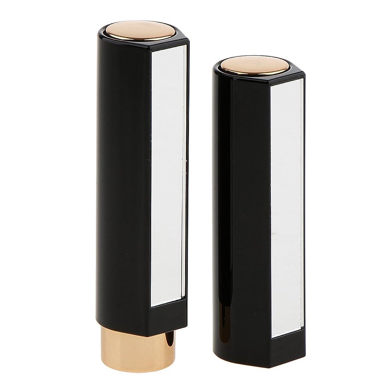 全国考慮ボリューム2本の空の口紅の管のリップクリームの容器DIYの化粧品の構造用具 - ブラック