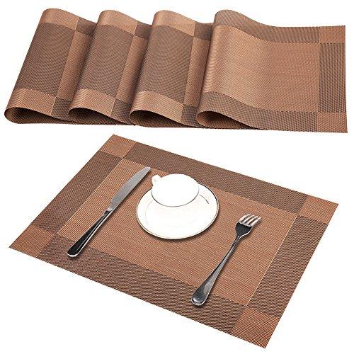 GODTEN Tischsets(4er Set), Rutschfest Abwaschbar Platzsets, PVC Abgrifffeste Hitzebeständig Platzdeckchen, Schmutzabweisend und Waschbare, Platz-Matten für küche Speisetisch, Braun 30x45cm