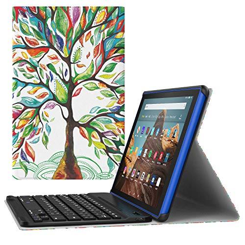 MoKo Tastatur Hülle für Das Neue Amazon Fire HD 10 Tablet (9. Gen 2019 und 7. Gen 2017 Model), Schutzhülle Abnehmbar Wireless Bluetooth Tastatur QWERTY Auto Schlaf/Wach für Fire HD 10, Glück Baum