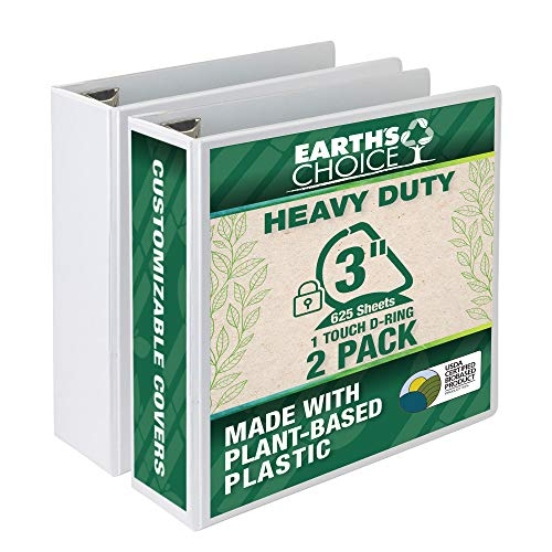 Samsill Earth's Choice Biobased Heavy-Duty 3 Ring View Binder, 3 Inch Locking One Touch D-Ring, Up to 25% Plant Based Plastic, Eco-Friendly, Customizable Clear View Cover, White, Bulk 2 Pack (MP29887)