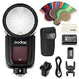 Godox V1-F - Flash de cámara de Cabeza Redonda Speedlite, 2.4 G X inalámbrico HSS 76Ws Speedlight Flash con batería de Ion de Litio Alimentado para Fuji Fujifilm DSLR