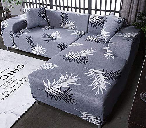 SLOUD Fundas de sofá en Forma de L Funda de sofá seccional 2 Piezas Fundas de sofá elásticas para sofá en Forma de L para Sala de Estar con 2 Fundas de cojín Gratis-F-En Forma de l 2+2 plazas