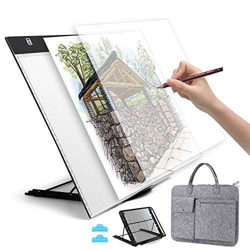 A3 LED Light Pad, HOHOTIME Dimmable LED Tracing Light Box with Carry Bag, USB Cable, Stand, Light-Up Tracing Pad for Artists Drawing Sketching Animation and Diamond Painting