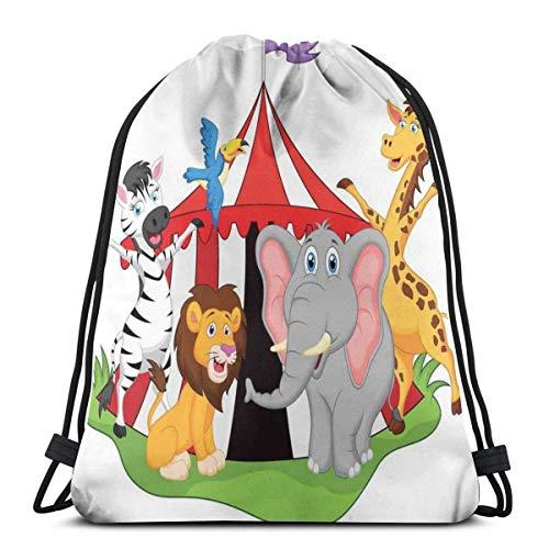 Bolsa de deporte con cordón para gimnasio, cincha, viaje, para mujeres, hombres, niños, artistas y acrobat animales en tienda de campaña de circo, diseño de jirafa, elefante, alegre arte