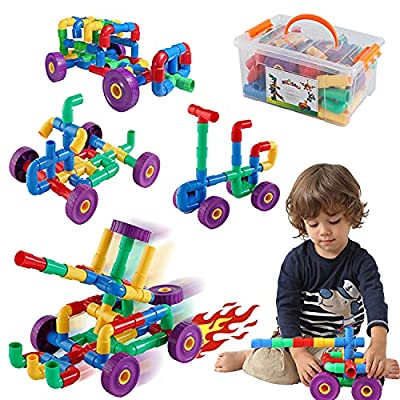 ZoZoplay STEM Learning Toy Tubular Pipes & Spouts & Joints 96 Piece Build Bicycle, Tank, Scootie, Moter Skills Endless Designs Educational Building Blocks Set for Kid Ages 3+ Multicolor from ZoZoplay