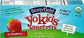 Stonyfield Organic, YoKids Strawberry Low Fat Yogurt Squeezers, 2 oz, 8 Count