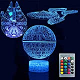 3D Illusion Star Wars Night Light Three Pattern Death Star/Millennium Falcon/Starships Interstellar 7 Color Change Decor Lamp Desk Table Night Light Lamp for Kids Children Holiday Gift