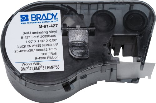 Brady Self-Laminating Vinyl Label Tape (M-91-427) - Black on White, Semi Clear Tape - Compatible with BMP41, BMP51, BMP53 Label Printers - 1.5 Height, .5 Width