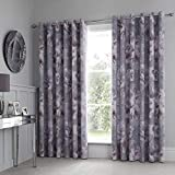 Catherine Lansfield Dramatic Floral Cortinas de 167 x 228 cm, Gris, Eyelet Curtains-66x90 Inch