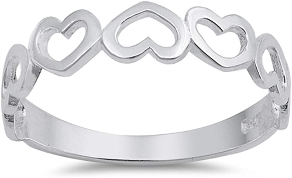 Superior Plain Half Eternity Hearts Silver 925 Our shop OFFers the best service Sterling Ring