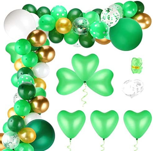 Auihiay 115 Pieces St Patrick s Day Party Decorations Green Balloons Garland Arch with Heart product image
