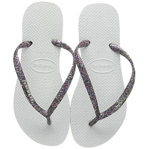 Havaianas Slim Logo Metallic, Infradito Donna, Argento (White/Silver/Silver), 33/34 EU