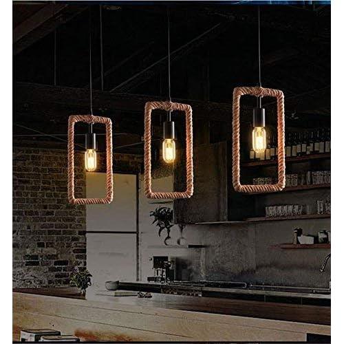 Glitz Vintage Geometric Edison lamp Rope Hanging/Pendant, E27 Holder, Decorative, Urban Retro Style, Baze Color. (Rectangle)