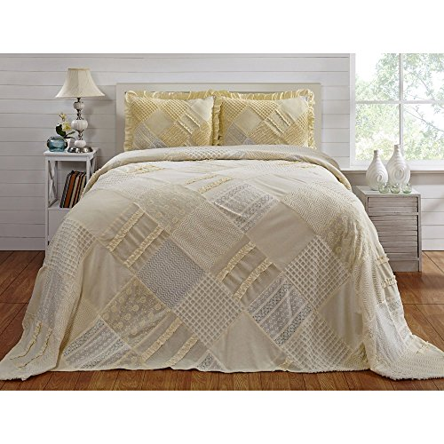 %22 OFF! Better Trends / Pan Overseas 96 X 110 Inch Ruffled Chenille Patchwork Bedspread, Full, Yell...