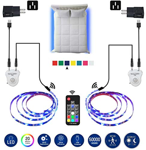 LED Strip Lights, Topled 6.56ft Bed Light LED Strip with Motion Sensor RGB LED Light Strip, 5050 LED Tape Lights, Color Changing Night Light with RF Remote for Home Kitchen Bar and Indoor Decoration