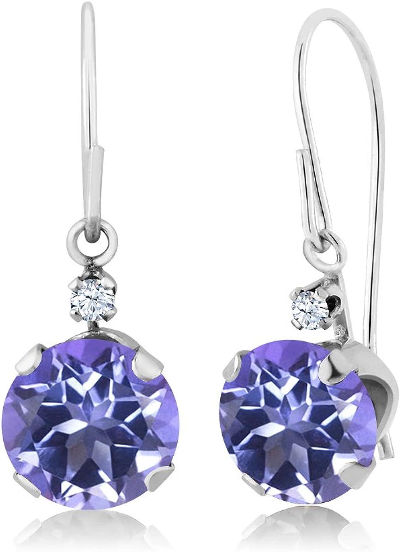 2.03 Ct Round Purple bluee Mystic Topaz 14K White gold Earrings