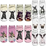 Angelteers 3D French Bulldog Ankle Socks Funny Cute Gift for Dog Puppy Lovers (French Bulldog), Fit Shoe Size: 3-7