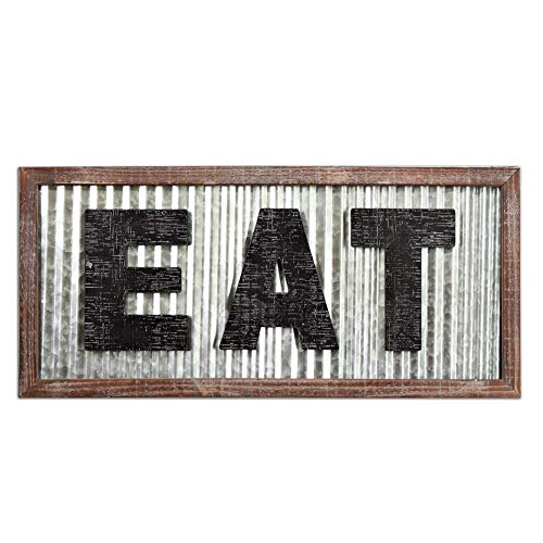 """Large EAT Wood Wall Art Sign for Kitchen Wall Decor,Wood Framed Kitchen Sign,Kitchen Art,Rustic Vintage Farmhouse Country Decoration for Kitchen Wall, Counter, Door and Pantry,27.5"""" x 12.5"""""""