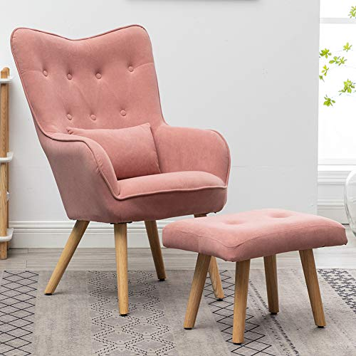 Warmiehomy Modern Occasional Chair Buttoned Wing Back Velvet Accent Chair Armchair with Footstool for Living Room Bedroom Office Lounge Reception (Pink)