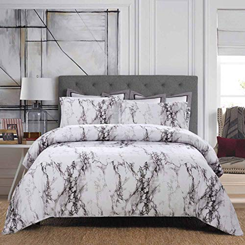 NANKO Queen Duvet Cover Set White Marble, 3PC 90x90 inch - Luxury...