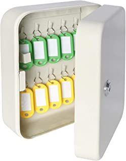 """Security Metal Key Box with 20 Tags, Small Adjustable Wall Mount Key Lock Cabinet, White, 7 4/5"""" x 6 1/5"""" x 2 4/5"""", YSH001S"""