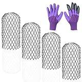 ANACOCO - Protezione per grondaie, confezione da 4 pezzi, resistente per espandere il filtro in rete, completo di set di guanti da giardino viola e artigli in plastica ABS