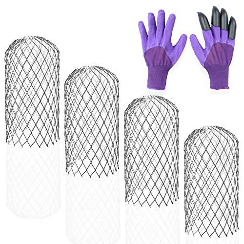 Scopri offerta per ANACOCO - Protezione per grondaie, confezione da 4 pezzi, resistente per espandere il filtro in rete, completo di set di guanti da giardino viola e artigli in plastica ABS