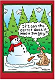 Eat the Carrot - Hilarious Adult Christmas Note Card with Envelope (4.63 x 6.75 Inch) - Funny Snowman and Rabbit Comic, Xmas Stationery for Men, Brother, Guys - Christmas Cartoon Gift Greeting 5769