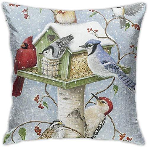 Gjiesh Funda de cojín de pájaros de Invierno Funda de Almohada de Tiro Cuadrada Decorativa Diseño de Doble Lado 45x45cm Familia Sofá de Interior Coche