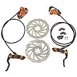 JUIN TECH DB1 MTB E-Bike Hydraulic Dual-Piston Disc Brake Set(F+R) w/160mm Rotor, Orange, JT2269