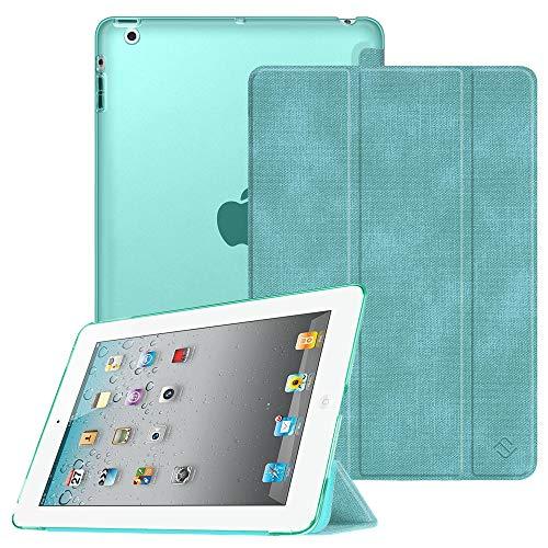 Fintie Hülle für iPad 4, iPad 3 & iPad 2 - Ultradünne Superleicht Schutzhülle mit transparenter Rückseite Abdeckung Cover mit Auto Schlaf/Wach Funktion, Jeansoptik Türkis