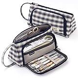 CICIMELON Pencil Case Large Capacity Pencil Pouch Handheld Pen Bag Gift for Office School Teen Girl Boy Men Women Adult - Black Plaid