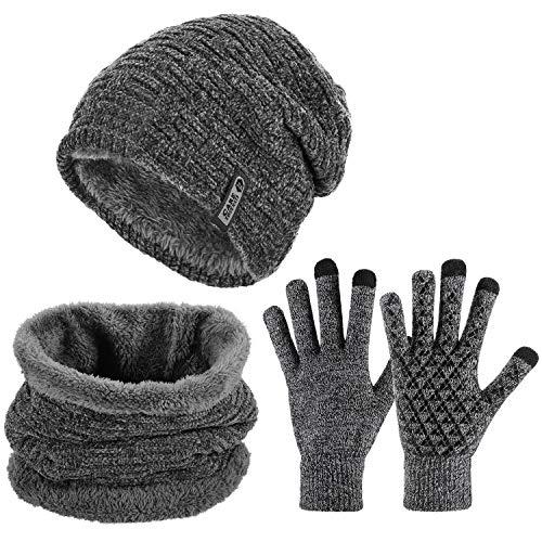 Tencoz Gorro Invierno Hombre con Bufanda, Sombreros Hombre Invierno Set de Bufanda y Gorro Beanie con Bufanda para Hombre Mujer Gorras Beanie de Punto Calentar Sombreros para Esquí Apinismo (Gray)