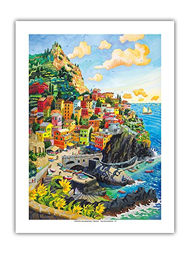 Pacifica Island Art Manarola, Italy - Cinque Terre Coastal Town - Italian Riviera - From an Original Watercolor Painting by Robin Wethe Altman - Premium 290gsm Giclée Art Print 18in x 24in