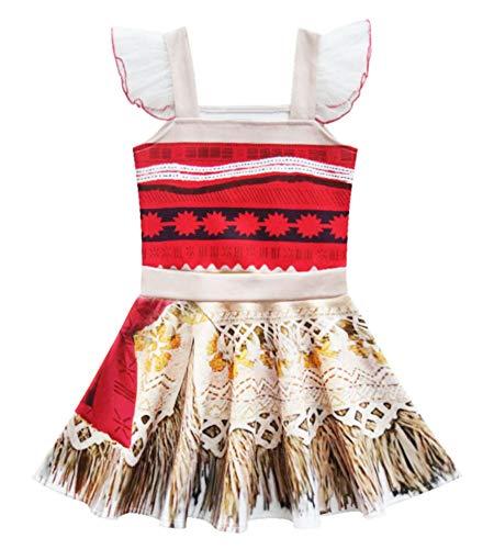 O.AMBW Disfraz de Moana Minifalda sin Mangas Impresa en 3D con Accesorios Corona de Flores Pinza para el Cabello Collar Vaiana Cosplay Carnaval Halloween Verano Primavera Regalo de cumpleaos