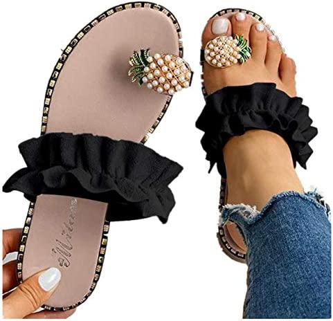 Challyhope Sweet Cute Pineapple Pearls Sandals Clip Toe Flip Flops Boho Casual Flat Slippers Beach Shoes for Women Girls