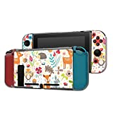 Dockable Case Compatible with Nintendo Switch Console and Joy-Con Controller, Patterned ( Cute animal floral pattern with deer, owl and fox ) Protective Case Cover with Tempered Glass Screen