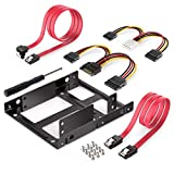 RHNE 2 x 2,5 Pulgadas SSD a 3,5 Pulgadas Soporte de Kit de Montaje de Unidad de Disco Duro Interno con Cables de Datos SATA y Cables de alimentación Rojo